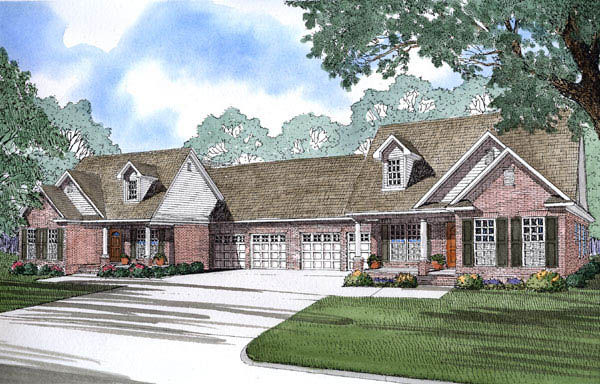 One-Story Multi-Family Plan 62382 with 6 Beds, 4 Baths, 4 Car Garage Elevation