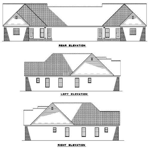 One-Story Multi-Family Plan 62382 with 6 Beds, 4 Baths, 4 Car Garage Rear Elevation