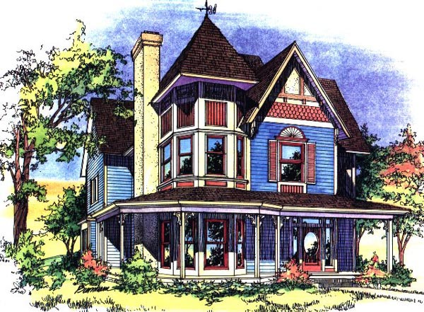 Victorian House Plan 62410 with 3 Beds, 3 Baths Elevation
