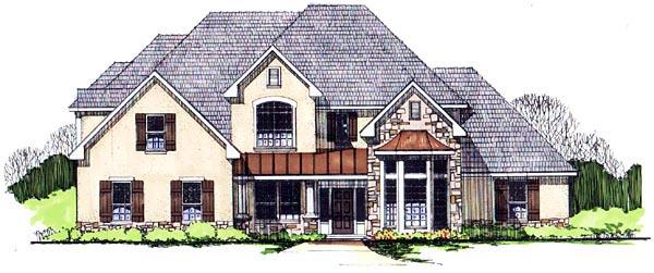European House Plan 62412 with 5 Beds, 5 Baths, 2 Car Garage Elevation