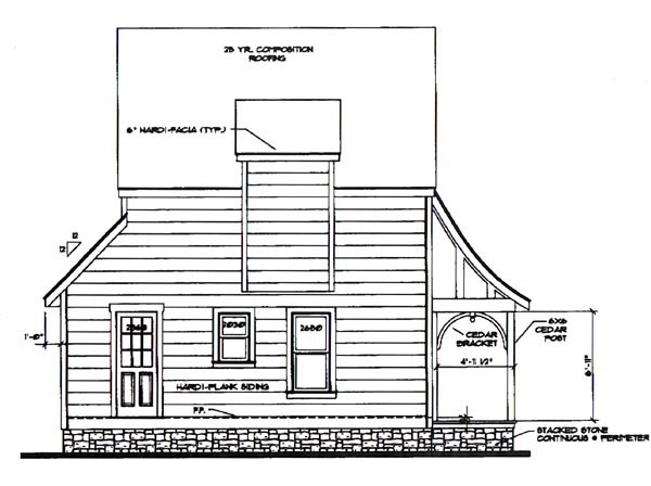 Cottage House Plan 62413 with 2 Beds, 2 Baths Rear Elevation