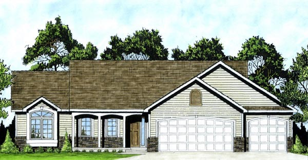 One-Story, Traditional House Plan 62546 with 3 Beds, 2 Baths, 3 Car Garage Front Elevation