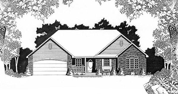 One-Story, Traditional House Plan 62548 with 2 Beds, 2 Baths, 2 Car Garage Front Elevation