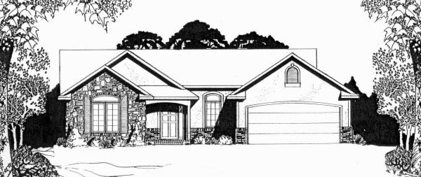 European, One-Story House Plan 62549 with 2 Beds, 2 Baths, 2 Car Garage Front Elevation
