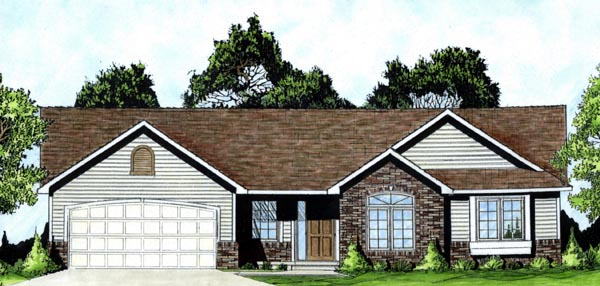 One-Story, Traditional House Plan 62550 with 3 Beds, 2 Baths, 2 Car Garage Front Elevation