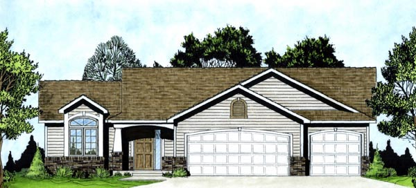 One-Story, Traditional House Plan 62551 with 3 Beds, 2 Baths, 3 Car Garage Front Elevation