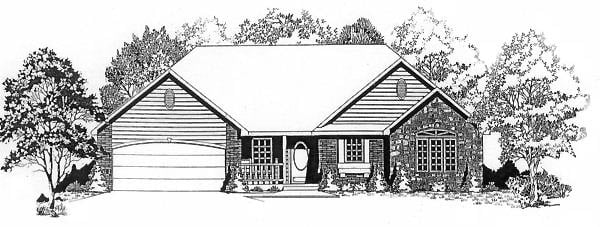 One-Story, Traditional House Plan 62553 with 3 Beds, 2 Baths, 2 Car Garage Elevation