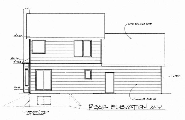 Contemporary House Plan 62557 with 3 Beds, 3 Baths, 2 Car Garage Rear Elevation