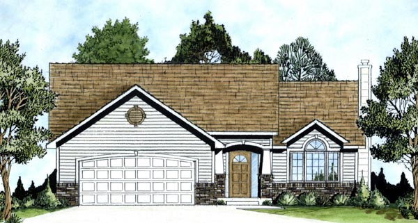 One-Story, Traditional House Plan 62560 with 3 Beds, 2 Baths, 2 Car Garage Elevation