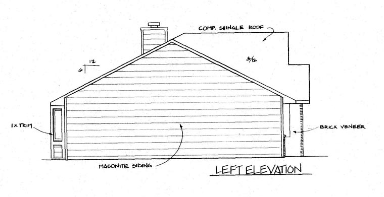 One-Story, Ranch House Plan 62562 with 3 Beds, 2 Baths, 2 Car Garage Picture 1