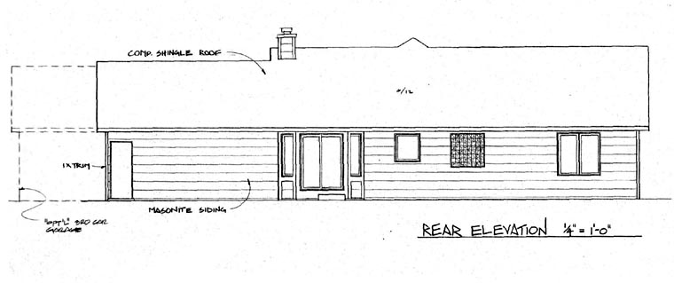 One-Story, Ranch House Plan 62562 with 3 Beds, 2 Baths, 2 Car Garage Rear Elevation
