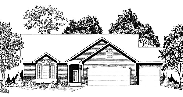 Traditional House Plan 62564 with 3 Beds, 2 Baths, 3 Car Garage Elevation