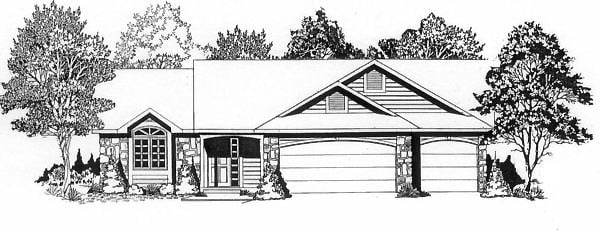 One-Story, Traditional House Plan 62565 with 3 Beds, 2 Baths, 3 Car Garage Front Elevation