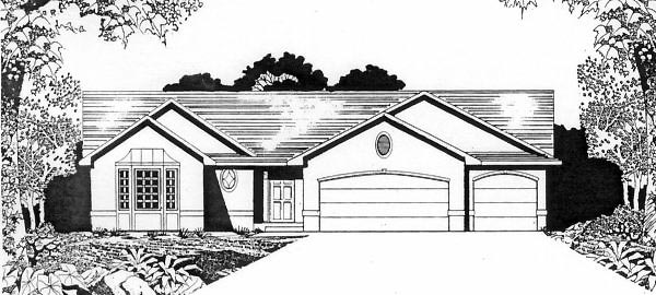 One-Story, Traditional House Plan 62566 with 2 Beds, 2 Baths, 3 Car Garage Front Elevation