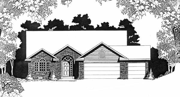 One-Story, Traditional House Plan 62575 with 3 Beds, 2 Baths, 3 Car Garage Front Elevation