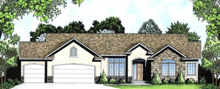 European House Plan 62588 with 2 Beds, 2 Baths, 3 Car Garage Front Elevation