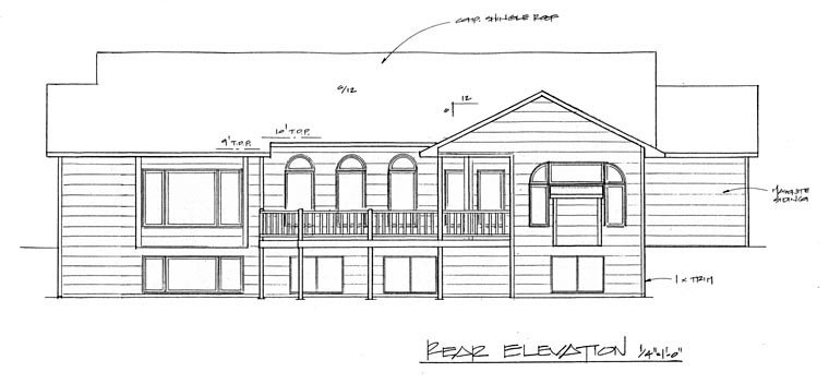 European House Plan 62588 with 2 Beds, 2 Baths, 3 Car Garage Rear Elevation