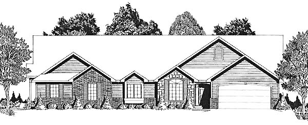 One-Story, Traditional Multi-Family Plan 62604 with 2 Beds, 2 Baths, 2 Car Garage Elevation