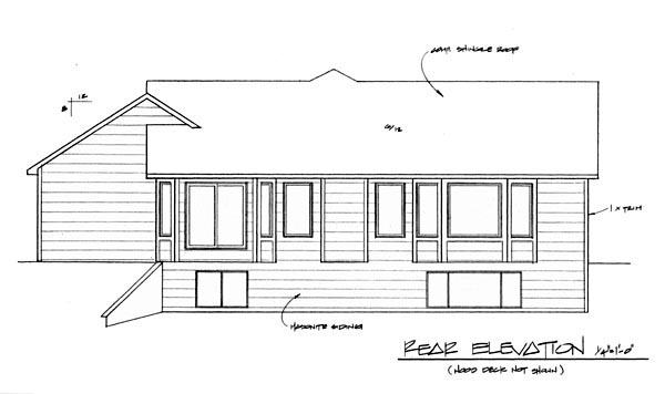 Traditional House Plan 62614 with 3 Beds, 2 Baths, 3 Car Garage Rear Elevation