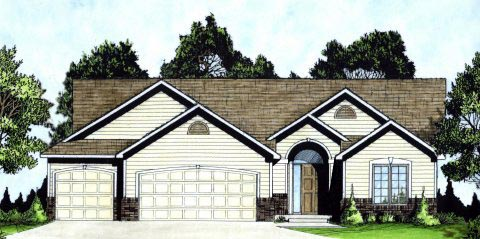 Ranch, Traditional House Plan 62623 with 3 Beds, 2 Baths, 3 Car Garage Elevation