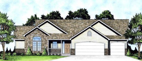 Ranch, Traditional House Plan 62625 with 3 Beds, 3 Baths, 3 Car Garage Elevation