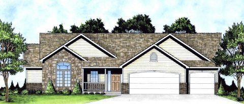Ranch, Traditional House Plan 62627 with 3 Beds, 3 Baths, 3 Car Garage Elevation