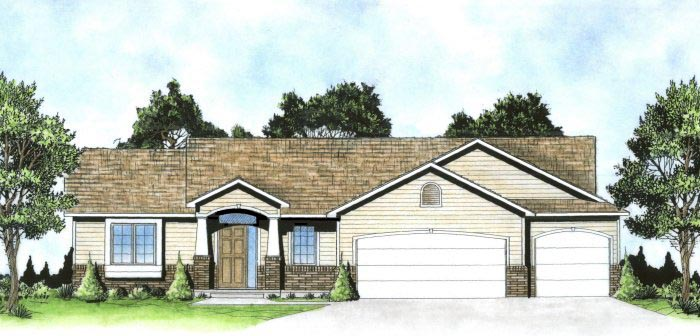Traditional House Plan 62640 with 3 Beds, 2 Baths, 3 Car Garage Elevation
