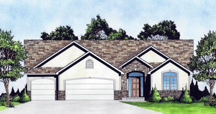 Traditional House Plan 62644 with 2 Beds, 3 Baths, 3 Car Garage Elevation