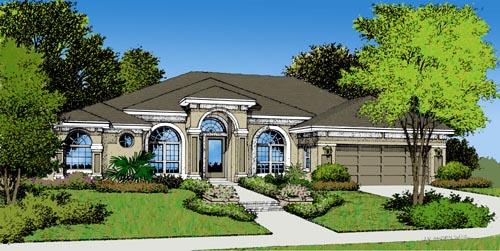 Contemporary, Florida, Mediterranean, One-Story House Plan 63047 with 3 Beds, 2 Baths, 2 Car Garage Elevation