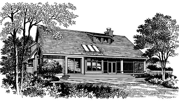 Bungalow, Traditional House Plan 63049 with 3 Beds, 3 Baths, 2 Car Garage Rear Elevation