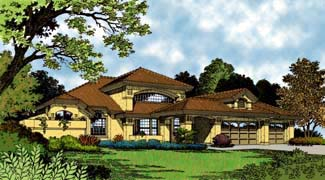 Florida, Mediterranean House Plan 63108 with 3 Beds, 3 Baths, 3 Car Garage Elevation