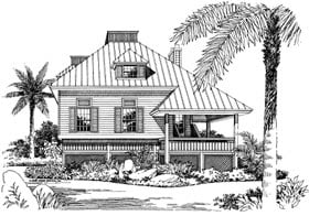 Coastal House Plan 63110 with 3 Beds, 2 Baths Front Elevation