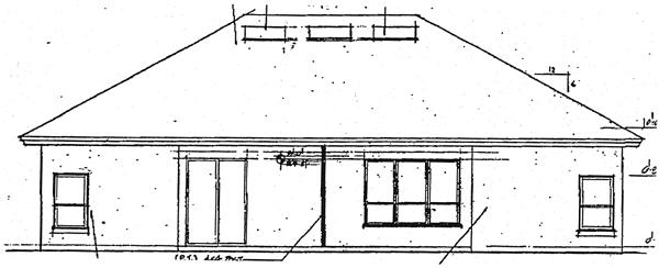 Mediterranean, One-Story House Plan 63125 with 3 Beds, 2 Baths, 2 Car Garage Rear Elevation