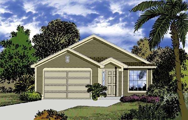 Florida, Traditional House Plan 63137 with 3 Beds, 2 Baths, 2 Car Garage Front Elevation