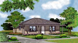 Country, Farmhouse, Narrow Lot, Traditional House Plan 63164 with 2 Beds, 1 Baths Elevation