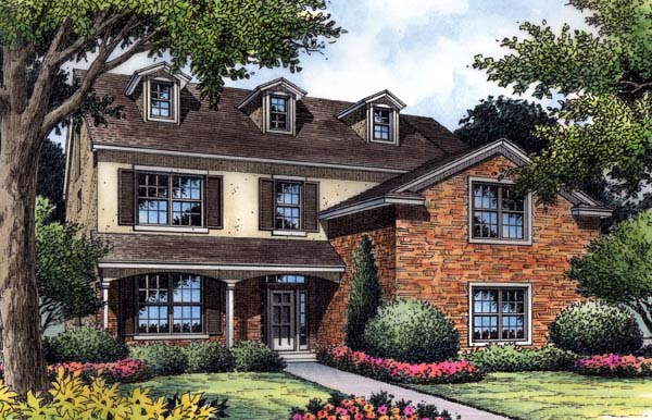 Colonial, Farmhouse, Traditional House Plan 63197 with 5 Beds, 5 Baths, 2 Car Garage Elevation