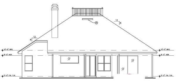 Contemporary, Florida, Mediterranean, Narrow Lot, One-Story House Plan 63198 with 3 Beds, 2 Baths, 2 Car Garage Rear Elevation