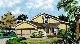 Contemporary, Florida, Mediterranean, Narrow Lot House Plan 63202 with 4 Beds, 2 Baths, 2 Car Garage Elevation