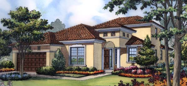 Mediterranean, Southwest House Plan 63212 with 4 Beds, 3 Baths, 2 Car Garage Elevation