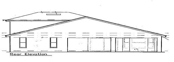 Mediterranean, Southwest House Plan 63212 with 4 Beds, 3 Baths, 2 Car Garage Rear Elevation