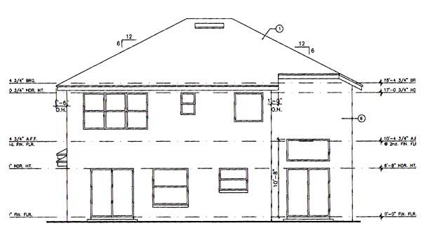 Contemporary, Florida, Mediterranean, Narrow Lot House Plan 63224 with 4 Beds, 3 Baths, 3 Car Garage Rear Elevation