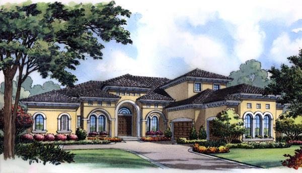 Florida, Mediterranean House Plan 63228 with 5 Beds, 6 Baths, 3 Car Garage Elevation