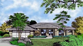 Contemporary, Florida, Mediterranean, One-Story House Plan 63239 with 3 Beds, 3 Baths, 2 Car Garage Front Elevation