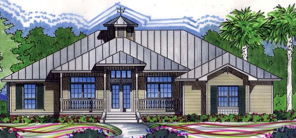 Coastal, Florida, One-Story, Traditional House Plan 63240 with 4 Beds, 2 Baths, 2 Car Garage Elevation