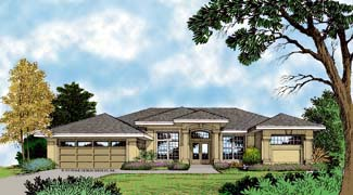 Contemporary, Florida, Mediterranean, One-Story House Plan 63279 with 4 Beds, 3 Baths, 2 Car Garage Elevation