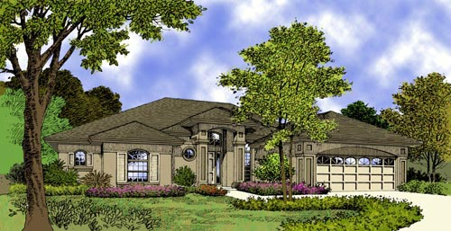 Contemporary, Florida, Mediterranean, One-Story House Plan 63296 with 3 Beds, 3 Baths, 2 Car Garage Elevation