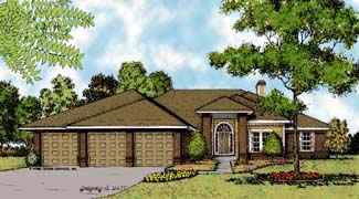 Contemporary, Florida, Mediterranean, One-Story House Plan 63306 with 4 Beds, 4 Baths, 3 Car Garage Elevation