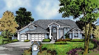 Contemporary, Florida, Mediterranean, One-Story House Plan 63322 with 3 Beds, 3 Baths, 3 Car Garage Elevation