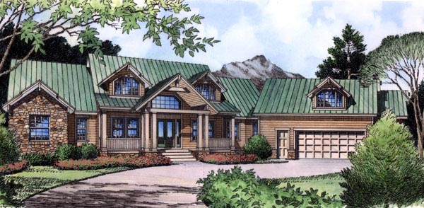 Farmhouse, Traditional House Plan 63361 with 4 Beds, 4 Baths, 2 Car Garage Elevation
