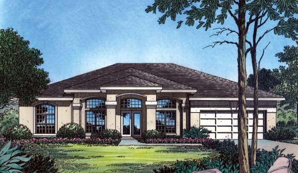 Contemporary, Florida, Mediterranean, One-Story House Plan 63364 with 4 Beds, 3 Baths, 2 Car Garage Elevation